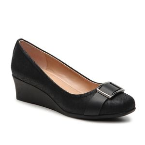 Abella Costine Black Wedge Shoes